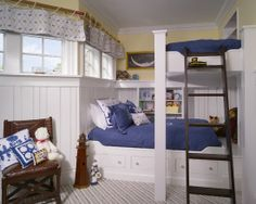 """I like the small shelving here next to each bed -- a place for alarm clock, current book that they're reading, etc.  Would we have room for something like this alongside ours?  Another option could be to do something like it at the """"headboard"""""""