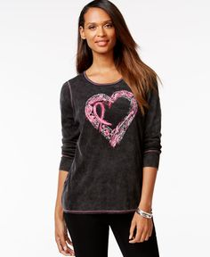 Style & Co. Breast Cancer Awareness Inspirational Heart Tee, Only at Macy's