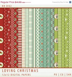 MEGA SALE Digital Paper - Loving Christmas - 20 Sheets - Red Green Cream - Holiday - Scrapbooking Commercial  Instant Download & Printable G