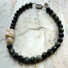 Black Onyx Gemstones  Grey and Black Stones Necklace by Ellishshop