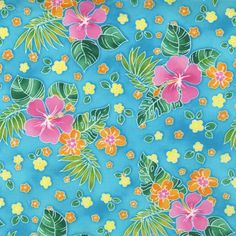SALE 25% OFF Tropical Island Sanctuary Fabric by Robert Kaufman Pattern D7499- Hibiscus on Aqua 100 Percent Quality Cotton Rare and Oop - $2.24 USD