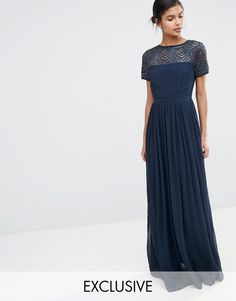 Maya+Pleated+Maxi+Dress+With+Pearl+Embellishment