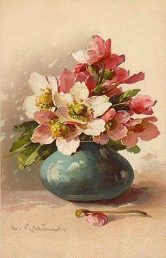 Anemones in Turquoise Vase Painting Oil Painting Flowers, China Painting, Watercolor Flowers, Watercolor Paintings, Flower Images, Flower Art, Catherine Klein, Christmas Rose, Floral Illustrations