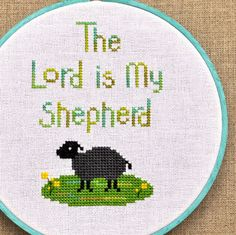 The Lord is My Shepherd Bible Verse Counted Cross Stitch Pattern PD $4