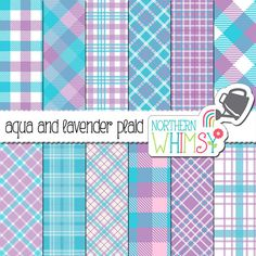 Aqua and Lavender Plaid Digital Paper – bright blue and purple scrapbook paper with plaid patterns & buffalo checks - commercial use
