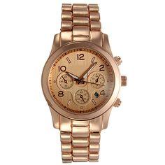 Fashion Rose Golden Stainless Steel Gear Quartz Wrist Watch With Calendar