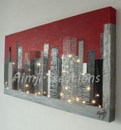 Urbain tableau lumineux 30 leds moderne rouge metal by - Decorations murales en metal ...