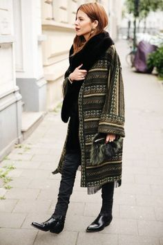 Boho style coat, worn with an all black outfit.