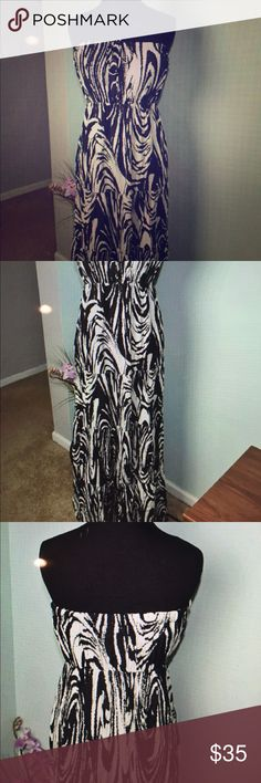 NEW YORK &CO. Strapless Zebra print Maxi Dress. In excellent condition. Absolutely beautiful . Has supportive elastic for the top part.😬 New York & Company Dresses Maxi