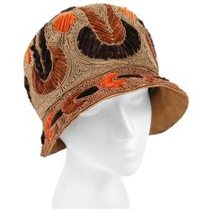 RICH ART MODELS c.1920's Gold Bronze Chenille Silk Corded Flapper Cloche Hat | From a collection of rare vintage cloche hats at https://www.1stdibs.com/fashion/accessories/cloche-hats/