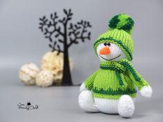 Stuffed snowman doll Christmas gift Plush snowman Xmas plushie Winter holiday decor Christmas decoration Stocking filler Knitted snowman