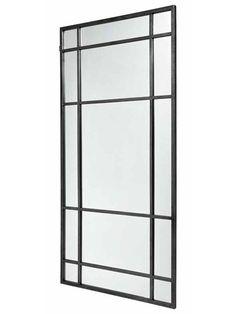 Nordal metal spejl til væg - stort vægspejl sort - 204 cm