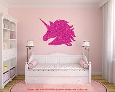 Glitter Unicorn Wall Decal, Large Unicorn sticker, Unicorn wall sticker, glitter decals, shiny decal, girls bedroom decal, nursery decal. by DecalsOnlineUK on Etsy https://www.etsy.com/uk/listing/495294878/glitter-unicorn-wall-decal-large-unicorn