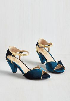 Curiosity Heel in Sapphire Velvet by Seychelles - Blue, Gold, Solid, Cutout, Special Occasion, Prom, Wedding, Party, Cocktail, Girls Night Out, Holiday, Holiday Party, Bridesmaid, Homecoming, Pinup, Vintage Inspired, 30s, Better, Peep Toe, Sparkly2015, Mid, Velvet, Variation