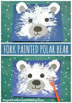 Fork Painted Polar Bear – Kid Craft Idea For Winter - Bear Crafts Preschool, Daycare Crafts, Classroom Crafts, Polar Bear Crafts, Preschool Projects, Winter Crafts For Toddlers, Crafts For Preschoolers, Winter Activities For Kids, Toddler Art