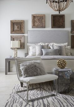Neutral Bedroom | Tall Headboard | Rustic Bedroom | Zebra Rug | Transitional Style | Coastal Bedroom | Lovelace Interiors Showroom | Furniture Showroom | 30A Interior Design