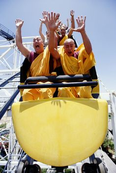 Buddhist monks on a roller coaster. I honestly have no idea why I'm pinning this...