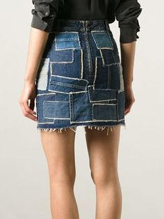Saint Laurent patchwork denim skirt