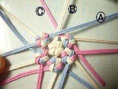 花結びの髪飾りの質問をいくつかいただいたので補足を~。花結びをやったことある方にはなんてことのないカンタンなものですがはじめての方には2個目の花結びと7個目の花結びが解りにくいようですね。コチラは⑦の… Plastic Lace Crafts, Ribbon Crafts, Paper Crafts, Macrame Patterns, Sewing Patterns, Macrame Plant Hangers, Craft Bags, Paper Basket, Weaving Techniques