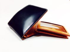 NO :SWS3003 SIZE :H100 X W100 mm  INCLUDE :8 card slots, 2 hidden slots, 1 paper cash pocket and 1 removable cardholder for 3 card slots LEATHER(EXTERIOR) : Japan's Cordovan(navy) LEATHER(INTERIOR):Buttero (orange) Leather Products, Leather Interior, Handmade Leather, Card Holder, Exterior, Pocket, Wallet, Orange, Navy