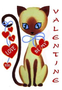"""Siamese Cat """"I love you"""" Valentine"""