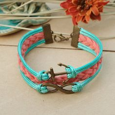 Anchor bracelet- green and red infity bracelet with anchor charm for friends, gift for girlfriend. $7.99, via Etsy. love!