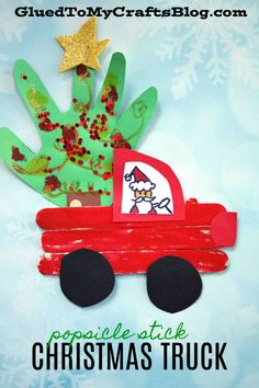 Popsicle Stick Christmas Trucks - Winter Kid Craft Idea w/Handprint Embellishmen., Popsicle Stick Christmas Trucks – Winter Kid Craft Idea w/Handprint Embellishments Holiday Crafts For Kids, Xmas Crafts, Diy Crafts, Christmas Handprint Crafts, Diy Christmas Ornaments For Toddlers, Winter Toddler Crafts, Christmas Crafts For Kindergarteners, Toddler Christmas Crafts, Christmas Crafts For Preschoolers