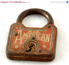 old rusty All American padlock