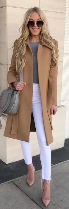 #spring #outfits brown coat, gray shirt, and white leggings. Pic by @milano_streetstyle