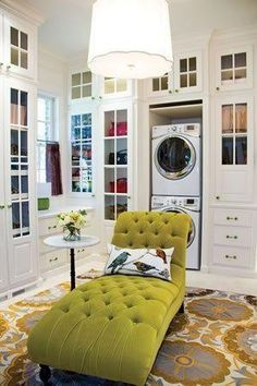 Now this laundry room is LITERALLY dreamy (see that lovely chaise???).  Can we do this @Craftsman Style by Donald Conner ?????