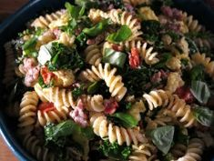Pasta Scramble with Breakfast Sausage, Kale, Tomatoes and Eggs