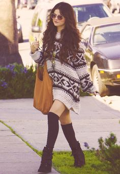 Oversized sweater as a dress. Selena does it best.