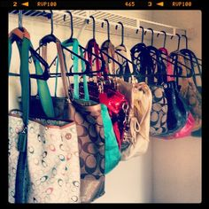 Coach obsessed!!! I don't hang my purses but they do have their own closet! :)