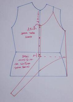 Hoje venho com um molde de blusa que amarra na frente. Sewing Hacks, Sewing Tutorials, Sewing Projects, Dress Neck Designs, Blouse Designs, Pattern Cutting, Pattern Making, Dress Sewing Patterns, Clothing Patterns
