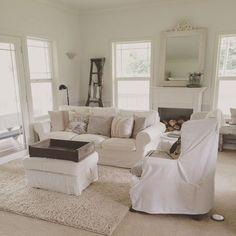 Farmhouse Living Rooms (Tips for Living with White)