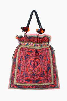Oversized Embroidered Red Tote Bag. #ethniclanna #handbags https://www.etsy.com/listing/98455328/red-bird-bag-oversized-tote-hill-tribe?ref=related-5
