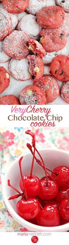 Very Cherry Chocolate Chip Cookies - Marla Meridith Big Cookie, Cookie Time, Cookie Swap, Just Desserts, Delicious Desserts, Cookie Recipes, Dessert Recipes, Bakery Cafe, Chocolate Cherry