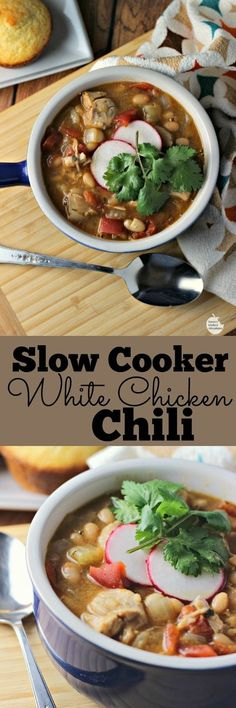 Slow Cooker White Chicken Chili   by Renee's Kitchen Adventures - healthy recipe for chili made with chicken and beans.  Easy to make and tastes so good!!