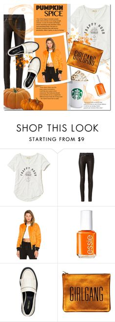 """""""Girl Gang"""" by justlovedesign ❤ liked on Polyvore featuring Hollister Co., rag & bone, Alpha Industries, Essie, Nine West, Sarah Baily and pss"""
