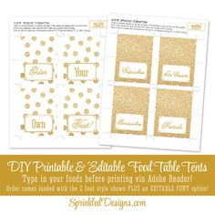 Gold Glitter Printable Party Food Tents by SprinkledDesign