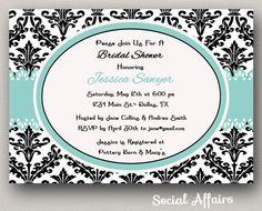 Bridal Shower Invitation Damask and Blue - DIY Printable Invitation