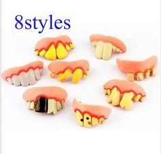 4pcs 2016 NEW Halloween Or April Fool's Day Funny And Tricky Buck Rotten Teeth - Color Random Toy