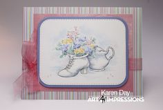 Card using Art Impressions Watercolor stamps and Tombow Dual Brush Markers Tombow Dual Brush, Art Impressions, Decorated Jars, Flower Images, Pen Sets, Watercolor Cards, Blue Flowers, Paper Crafts, Vintage
