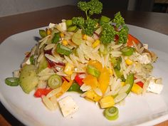 Kritharaki – Salat Kritharaki salad, a delicious recipe from the Pasta category. Ratings: Average: Ø Greek Salad Recipes, Salad Dressing Recipes, Gnocchi Pesto, Mediterranean Pasta Salads, Sicilian Recipes, India Food, Potato Salad, Chicken Recipes, Food And Drink