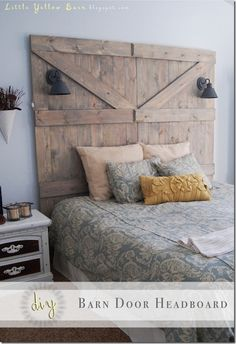 Barn Door Headboard @ Little Yellow Barn <>< if barn door is not available, get wood and stain to look this shade and built it!