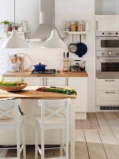 classic white kitchen (via Inspired by IKEA) (my ideal home. Scandinavian Kitchen, Scandinavian Style, Kitchen Interior, Kitchen Decor, Kitchen Wood, Cosy Kitchen, Kitchen Ideas, Kitchen Cabinets, Neutral Kitchen Designs