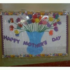 Flowers are children's hands. Mother's Day bulletin board idea.
