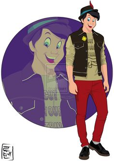 Disney University Student - Pinocchio. He is studying engineering and aiming for a scientific degree. He loves cats, wooden things, forests and candies and hates fire and whales. He is kind and friendly to everyone, even to these who tries to cheat him, but luckily he has a good heart.