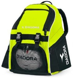 Diadora Squadra Backpack (Black) 420 denier nylon with PVC backing Front vented ball pocket Padded anatomically shaped shoulder pads Side vented shoe tunnel New Ergo friendly design Gold Backpacks, Orange Backpacks, Military Backpacks, Soccer Cleats, Soccer Ball, Basketball, Volleyball, World Soccer Shop, Gifts For Football Fans