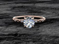 Delicate Rose Gold Moissanite Engagement Ring Round by GemFrost